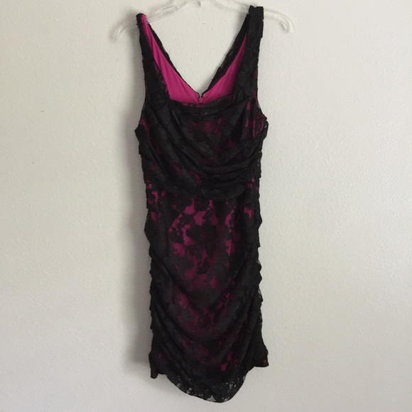 Express Dresses & Skirts - Express Fuchsia Pink And Black Floral Lace V Back